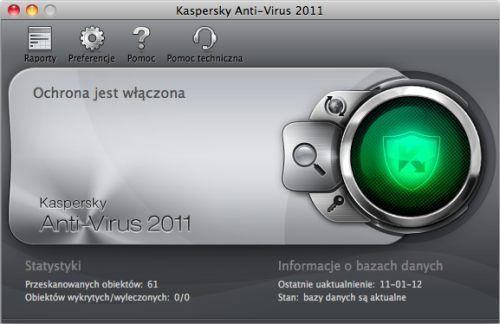 Kaspersky Anti-Virus 2011 for Mac okno główne