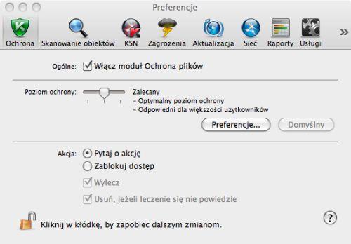 Kaspersky Anti-Virus 2011 for Mac ustawienia