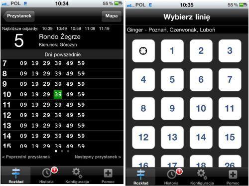 Ginger, rozkład jazdy, na iPhone, iPoda oraz iPada
