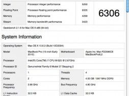 Osiągnięte wyniki w programach benchmarkowych macbook pro i7