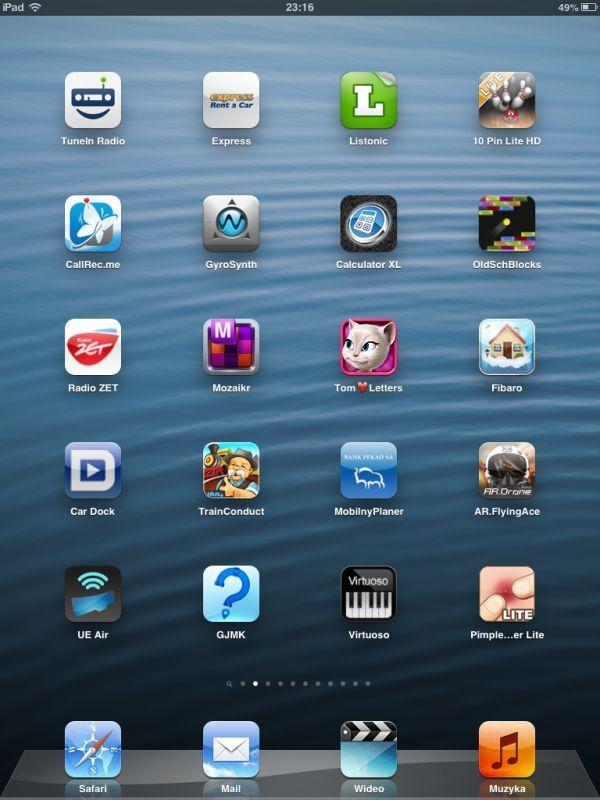iPad mini iOS 6 interfejs