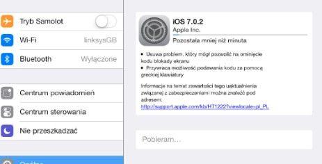 Aktualizacja iOS7 do wersji 7.02