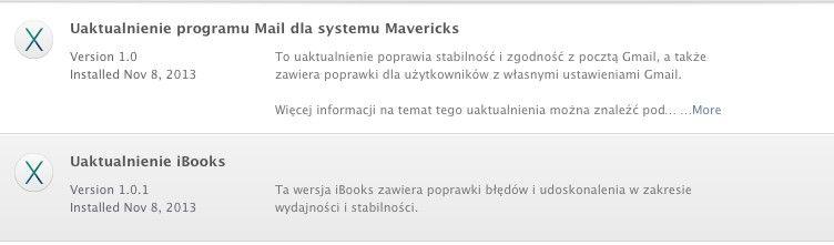 Aktualizacja aplikacji Mail i iBooks
