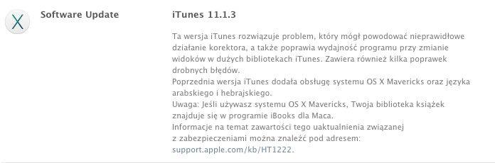 Aktualizacja iTunes
