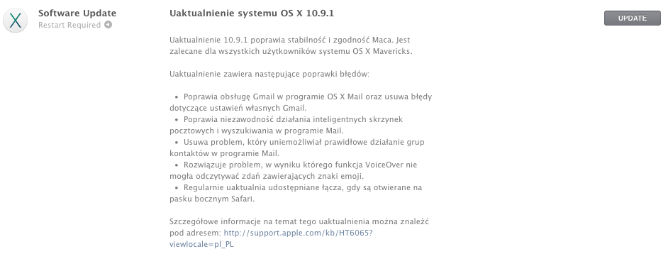 Uaktualnienie OS X Mavericks 10.9.1 już do pobrania