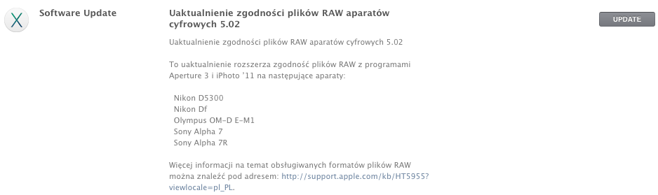 Uaktualnienie zgodności plików RAW w Mac App Store