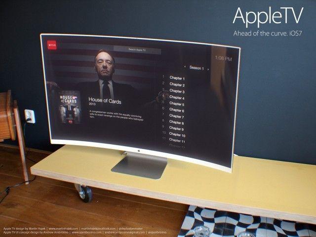 Apple TV z zakrzywionym ekranem i oprogramowaniem wzorowanym na iOS7