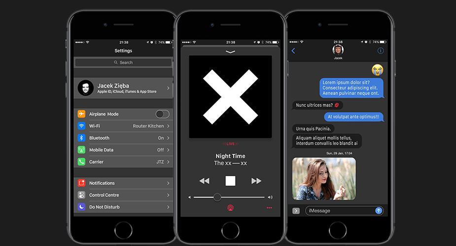 Ciemny interfejs iOS tematem konceptu
