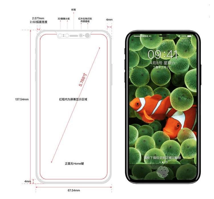 Nowy rysunek techniczny iPhone'a 8