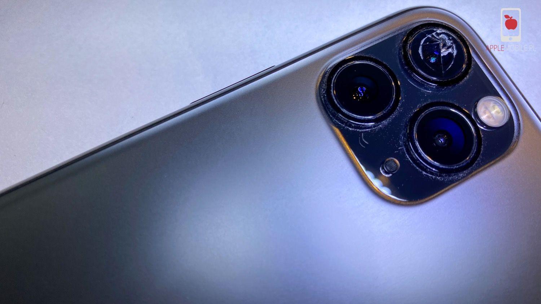 iPhone 11 Pro ze zbitą szybką aparatu