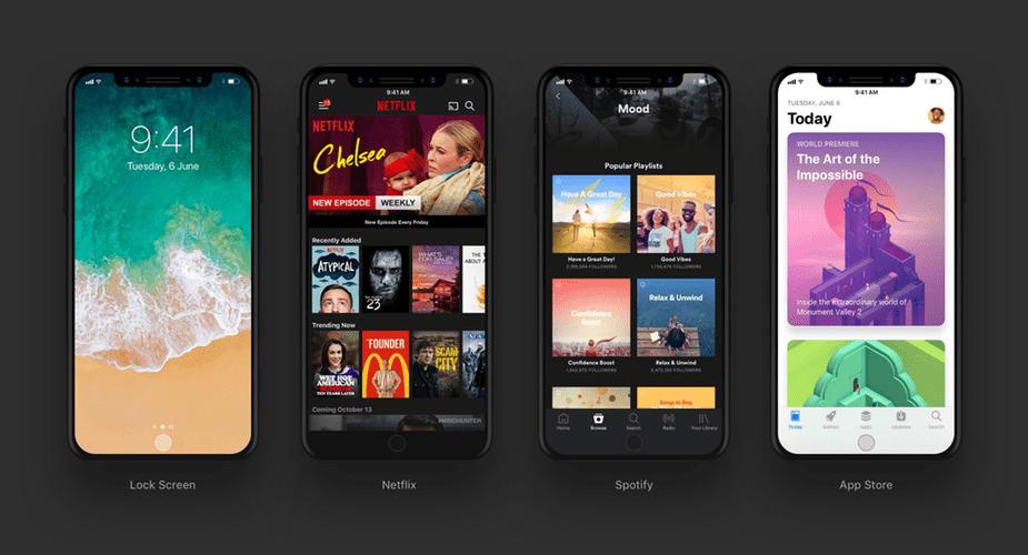 Kolejne grafiki demonstrujące wygląd aplikacji na ekranie iPhone'a 8