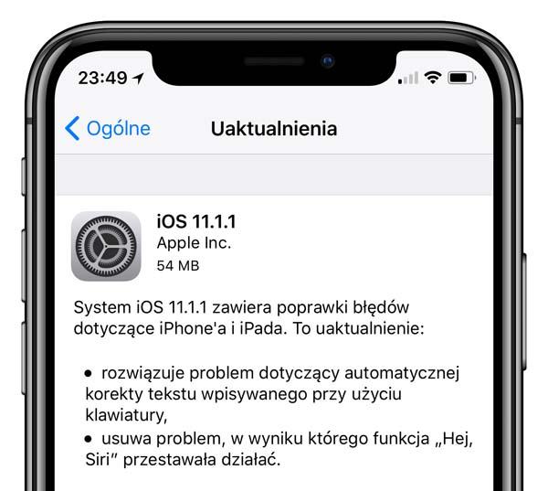 Apple wydaje oficjalną wersję iOS 11.1.1