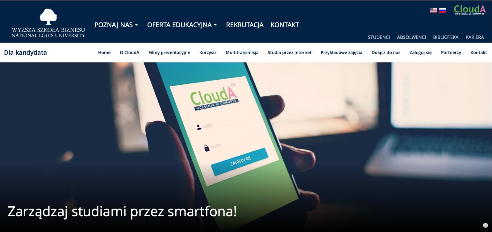 Studiowanie przez iPhone'a w WSB-NLU poprzez aplikację CloudA