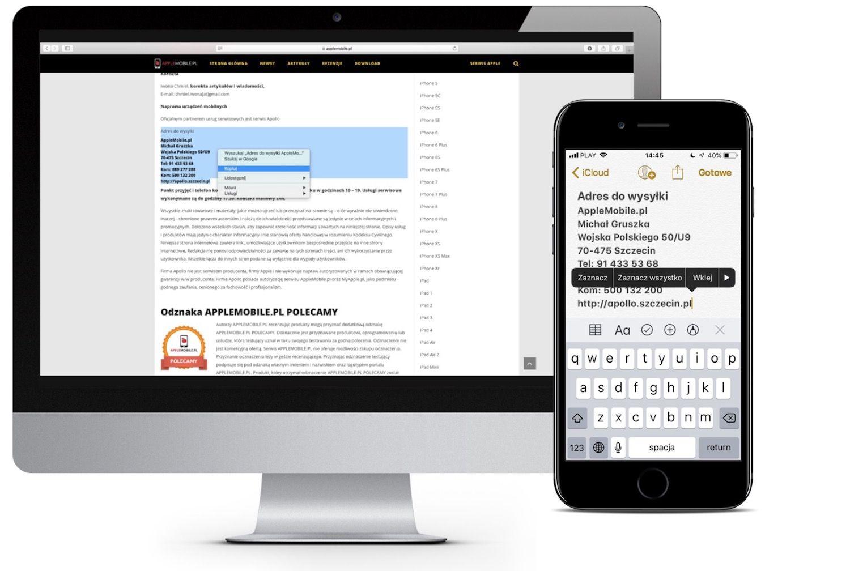 Jak skopiować treść między urządzeniami Apple przy użyciu uniwersalnego schowka