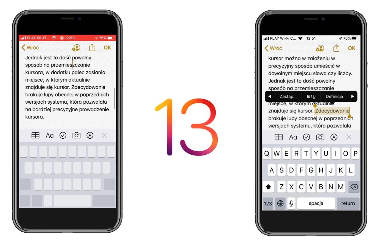 Zaznaczanie i edycja tekstu w iOS 13