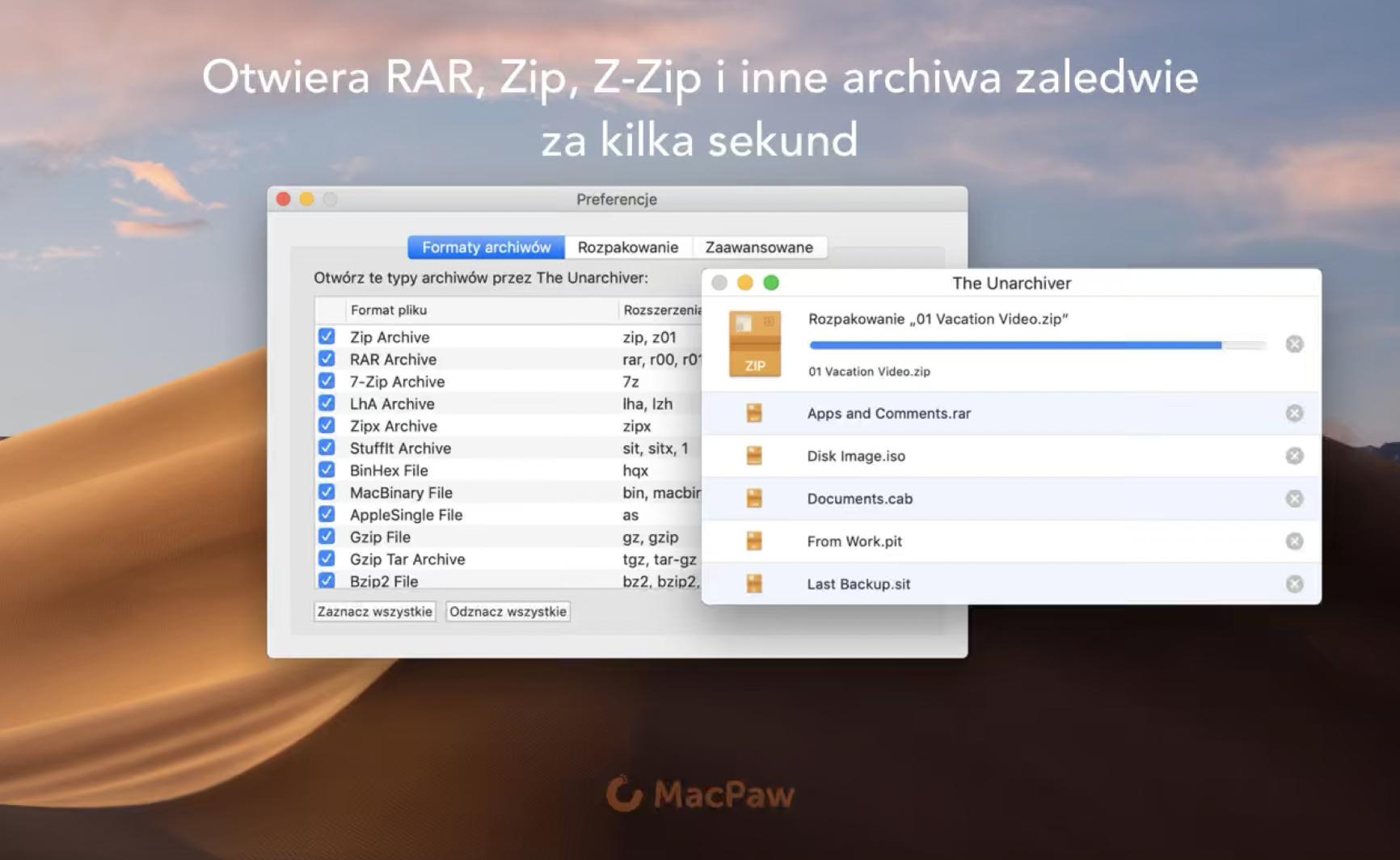 Aplikacja tygodnia macOS – MacPaw The Unarchiver, rozpakuj wszystko bez kłopotu.