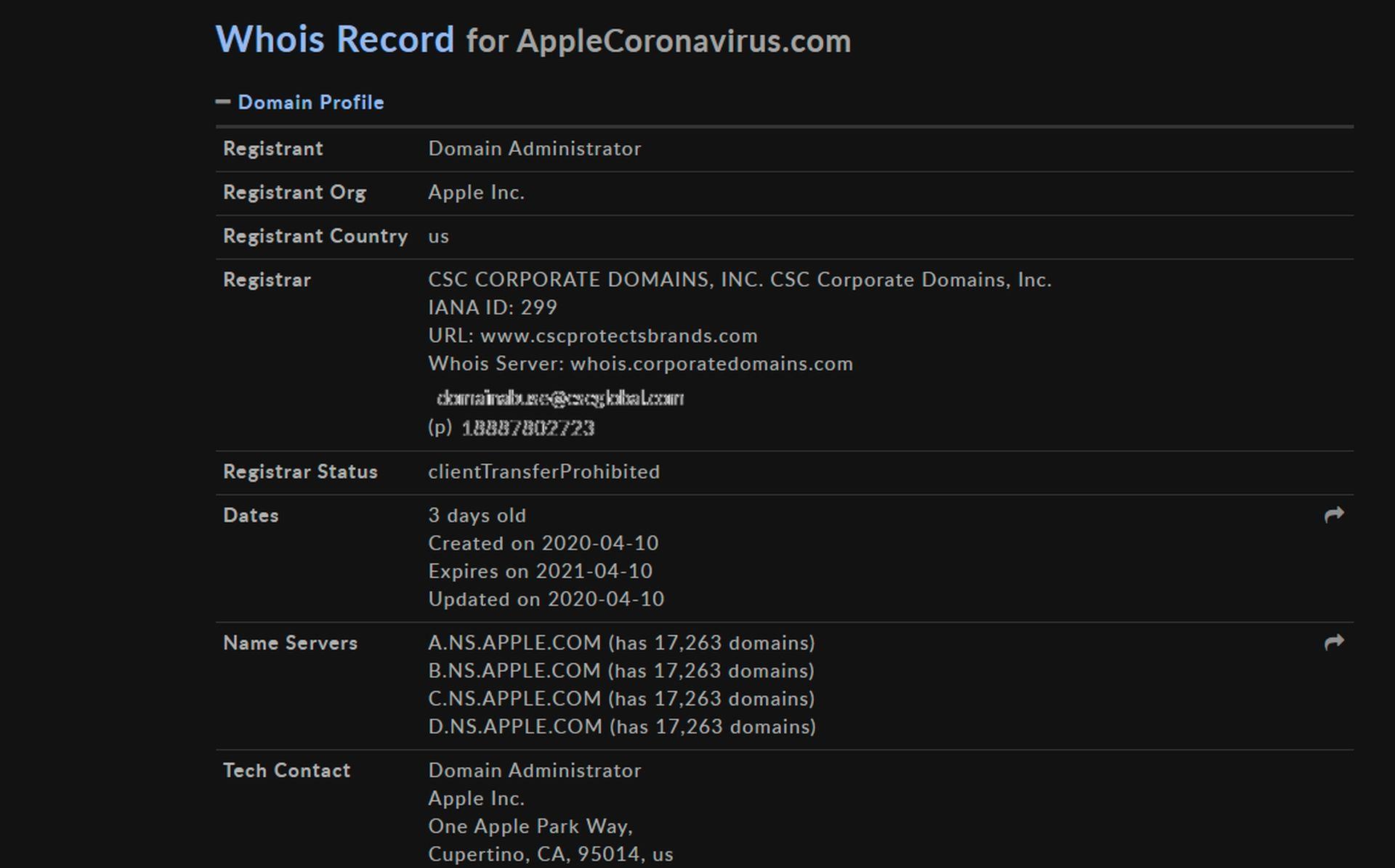 Firma Apple zarejestrowała domenę AppleCoronavirus.com