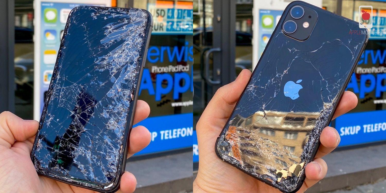 iPhone 11 ze zbitą szybką ekranu i obudowy. Naprawa w Serwis Apple Szczecin