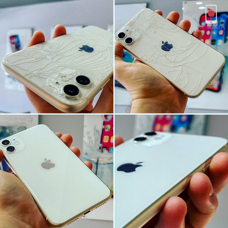 Telefon iPhone 11 przed i po naprawie tylnej szklanej klapki obudowy po rozbiciu