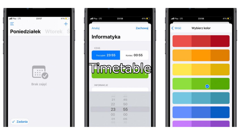 #60 Aplikacja tygodnia – Timetable. Plan zajęć ucznia i studenta!