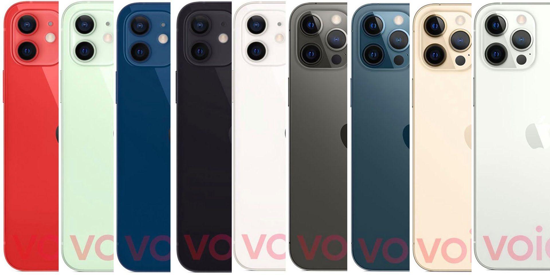 Grafiki przedstawiające potencjalne kolory nowych iPhone'ów 12