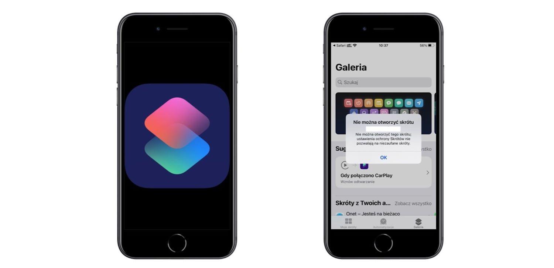 Jak włączyć na iPhonie pobieranie niezaufanych skrótów