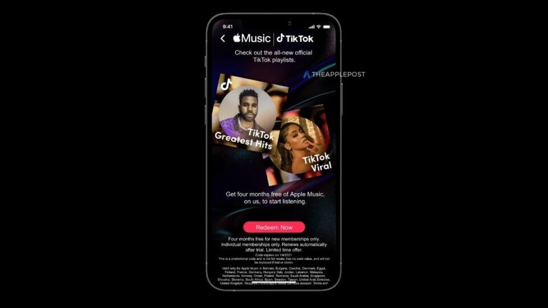 4 miesiące dostępu do Apple Music dzięki ofercie TikToka