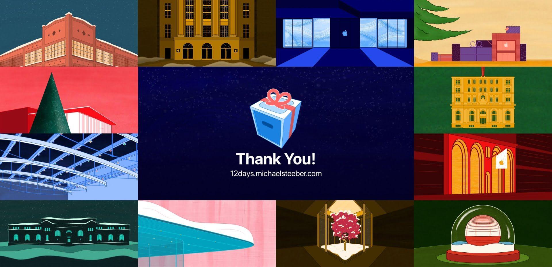 Grafiki salonów firmy Apple podczas akcji 12 Days of Apple Stores
